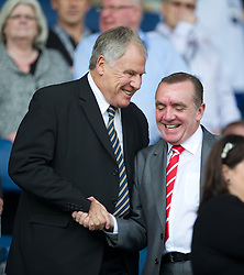 LIVERPOOL, ENGLAND - Saturday, October 1, 2011: Liverpool's Commercial Director Ian Ayre and former Everton manager Joe Royle during the Premiership match against Everton at Goodison Park. (Pic by David Rawcliffe/Propaganda)