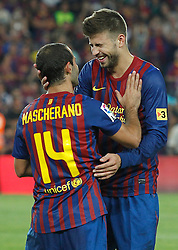 17.08.2011, Camp Nou, Barcelona, ESP, Supercup 2011, FC Barcelona vs Real Madrid, im Bild FC Barcelona's Javier Mascherano and Gerard Pique celebrates the victory during Spanish Supercup 2nd match.August 17,2011. EXPA Pictures © 2011, PhotoCredit: EXPA/ Alterphotos/ Acero +++++ ATTENTION - OUT OF SPAIN / ESP +++++