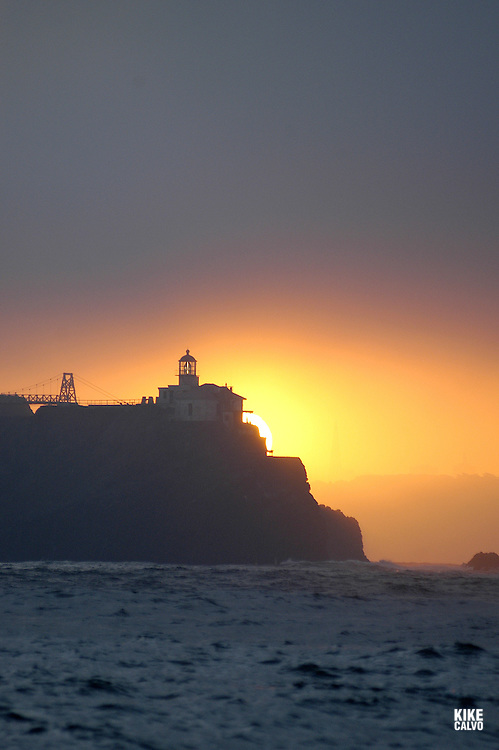 Bonita Lighthouse at sunrise.San Francisco Bay, California, United States