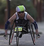 London Marathon, London, GREAT BRITAIN, location, Isle of Dogs. Wheelchair race Race No. 93064 DEBORAH. BRENNAN  (GBR),  Narrow Street. E1. © Peter Spurrier/Intersport Image/+447973819551