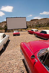 USA, Utah, drive in classic 1940s-60s movies and historic candy and vintage convertibles are available at the Shooting Star Drive-In in Escalante.