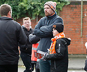 Blackpool fans waiting for their team to arrive during the EFL Sky Bet League 1 match between Fleetwood Town and Blackpool at the Highbury Stadium, Fleetwood, England on 25 November 2017. Photo by Paul Thompson.