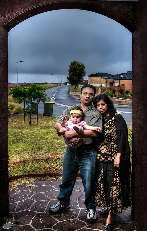 Cornell &amp; Deepa Coello and their 17 month old baby Teanna are concerned about a smell in the western suburbs of melbourne. Pic By Craig Sillitoe CSZ/The Sunday Age.26/11/2011 melbourne photographers, commercial photographers, industrial photographers, corporate photographer, architectural photographers, This photograph can be used for non commercial uses with attribution. Credit: Craig Sillitoe Photography / http://www.csillitoe.com<br />