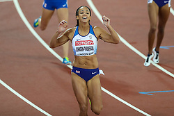 London, 2017 August 05. Katarina Johnson-Thompson wins the 4th heat of the women's 200m heptathlon at the IAAF World Championships London 2017. © Paul Davey.