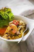 Cebiche Mixto, Mixed Cebiche. / Lenguado, camarón, pulpo y calamar en salsa de chile manzano amarillo con un toque de sal rosa del himalaya. / Flounder, shrimp, squid and octopus in a yellow chile manzano sauce with a touch of pink himalayan salt.