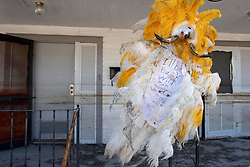 25 Oct,  2005. New Orleans, Louisiana.  Hurricane Katrina aftermath. <br /> The 8th ward lies in ruins following Katrina's devastating floods. The fabulous, somewhat dishevelled Mardi Gras Indian headress of Wild Man Loco is pinned defiantly to the outside of his home, clearly stating that 'I'll be back.'<br /> Photo; &copy;Charlie Varley/varleypix.com