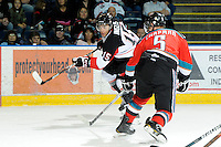 KELOWNA, CANADA, OCTOBER 26: Charles Inglis #15 of the Prince George Cougars skates on Kelowna Rockets' ice as the Prince George Cougars visit the Kelowna Rockets  on October 26, 2011 at Prospera Place in Kelowna, British Columbia, Canada (Photo by Marissa Baecker/Shoot the Breeze) *** Local Caption ***Charles Inglis;
