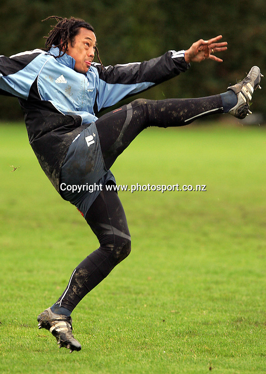 All Black captain Tana Umaga training at the Westmanstown Sports Centre, Dublin,Tuesday 8 November 2005, prior to this weekend's test match versus Ireland. Photo: Andrew Cornaga/Photosport.