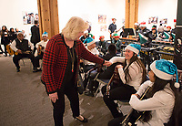 Monterey County Superintendent of Schools Nancy Kotowski congratulates members of the Alisal Center for the Fine Arts Rondalla Guitar Ensemble at the December 5th, 2017 opening of the Stories from Salinas exhibition at the CSUMB Salinas Center for Arts and Culture in Oldtown. The exhibition celebrates the mentors, youth and families of the Salinas Youth Initiative.