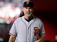 Sep. 15, 2012; Phoenix, AZ, USA; San Francisco Giants manager Bruce Bochy (15) reacts during the game against the Arizona Diamondbacks at Chase Field. Mandatory Credit: Jennifer Stewart-US PRESSWIRE.