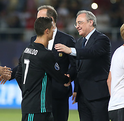 August 8, 2017 - Skopje, Macedonia - Ronaldo, of Real Madrid shakes hands with Real Madrid President Florentino Perez after the UEFA Super Cup match between Real Madrid and Manchester United at National Arena Filip II Macedonian on August 8, 2017 in Skopje, Macedonia. (Credit Image: © Raddad Jebarah/NurPhoto via ZUMA Press)