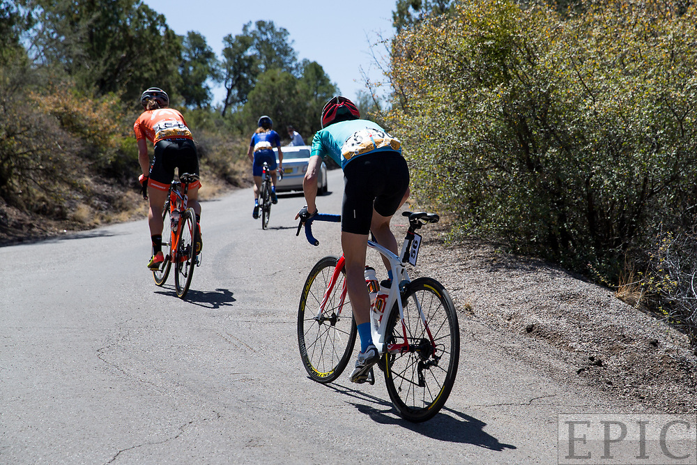 SILVERY CITY, NM - APRIL 18: The top 3 head into the final kilometer of todays climb on stage 1 of the Tour of The Gila on April 18, 2018 in Silver City, New Mexico. (Photo by Jonathan Devich/Epicimages.us)