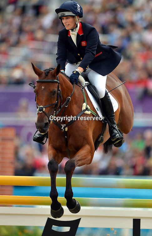 31.07.2012. Greenwich Park, London England. Zara Phillips of Britain competes in Jumping Phase of Equestrian AT The London 2012 Olympic Games The British team Won Silver Medal in Equestrian team Eventing   Britain London Equestrian team Eventing Silver