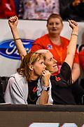 Julie Seymour Assistant Coach of the Tactix and Marianne Delaney-Hoshek Coach of the Tactix celebrates winning  the ANZ Premiership Netball match, Tactix v Stars, Horncastle Arena, Christchurch, New Zealand, 23rd April 2019.Copyright photo: John Davidson / www.photosport.nz