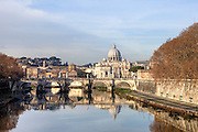 View of St. Peter's Basilica and Ponte San Angelo on the Tiber