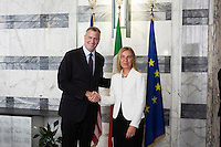 ROME, ITALY - 21 JULY 2014:  (L-R) Mayor of New York Bill De Blasio poses for a press photo with Italian Ministero of Foreign Affairs Federica Mogherini before at the  Ministry of Foreign Affairs, before a meeting in Rome, Italy, on July 21st 2014.<br /> <br /> New York City Mayor Bill de Blasio arrived in Italy with his family Sunday morning for an 8-day summer vacation that includes meetings with government officials and sightseeing in his ancestral homeland.