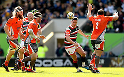 Freddie Burns of Leicester Tigers chips the ball forward - Mandatory by-line: Robbie Stephenson/JMP - 15/04/2017 - RUGBY - Welford Road - Leicester, England - Leicester Tigers v Newcastle Falcons - Aviva Premiership