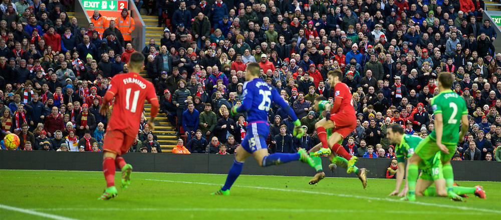 LIVERPOOL, ENGLAND - Saturday, February 6, 2016: Liverpool's Adam Lallana scores the second goal against Sunderland during the Premier League match at Anfield. (Pic by David Rawcliffe/Propaganda)
