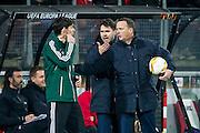 ALKMAAR - 26-11-15, Europa League, AZ  - FK Partizan, AFAS Stadion, 1-2, Assistent trainer Dennis Haar, AZ trainer John van den Brom.