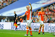 Mark Cullen (9) of Blackpool celebrates scoring what turned out to be the winning goal to give a 2-1 lead during the EFL Sky Bet League 2 play off final match between Blackpool and Exeter City at Wembley Stadium, London, England on 28 May 2017. Photo by Graham Hunt.