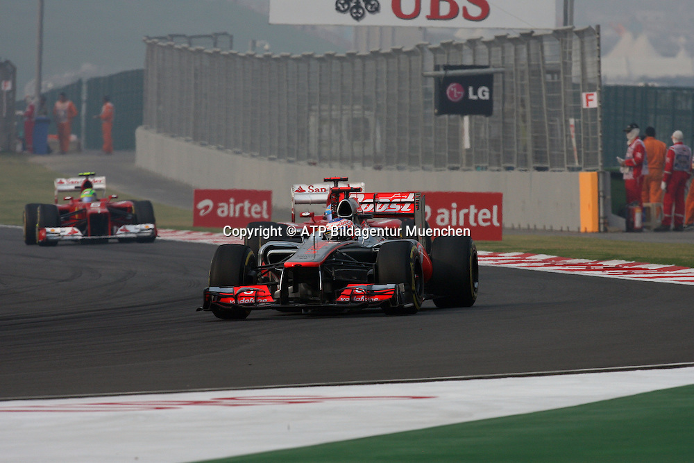 Jenson BUTTON, GB, UK, England - Team McLAREN-Mercedes F1 <br /> NOIDA, GP Formula 1 in INDIA near New Dehli, Formel 1 Grand Prix von INDIEN 28.10. 2012 - Rennen am BUDDH INTERNATIONAL Circuit F1  race  -  fee liable image - Photo Credit: &copy; ATP / THILL Arthur