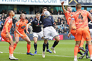 GOAL 1-0 Millwall striker Lee Gregory (9) contropls  the ball on his chest shortly before scoring Millwall's opener during the EFL Sky Bet Championship match between Millwall and Ipswich Town at The Den, London, England on 27 October 2018.