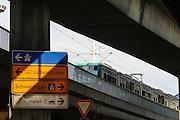Schnellstraßen-Brücken Rheinstraße, verkehrsgerechte Stadt, Mannheim, Baden-Württemberg, Deutschland | highway bridge, tram, Mannheim, Baden-Wurttemberg, Germany