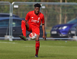 LIVERPOOL, ENGLAND - Saturday, April 9, 2016: Liverpool's Mich'el Parker in action against Everton during the FA Premier League Academy match at Finch Farm. (Pic by David Rawcliffe/Propaganda)
