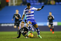Ryan Woods of Brentford sliding tackle on Garath McCleary of Reading - Mandatory by-line: Jason Brown/JMP - 14/02/2017 - FOOTBALL - Madejski Stadium - Reading, England - Reading v Brentford - Sky Bet Championship