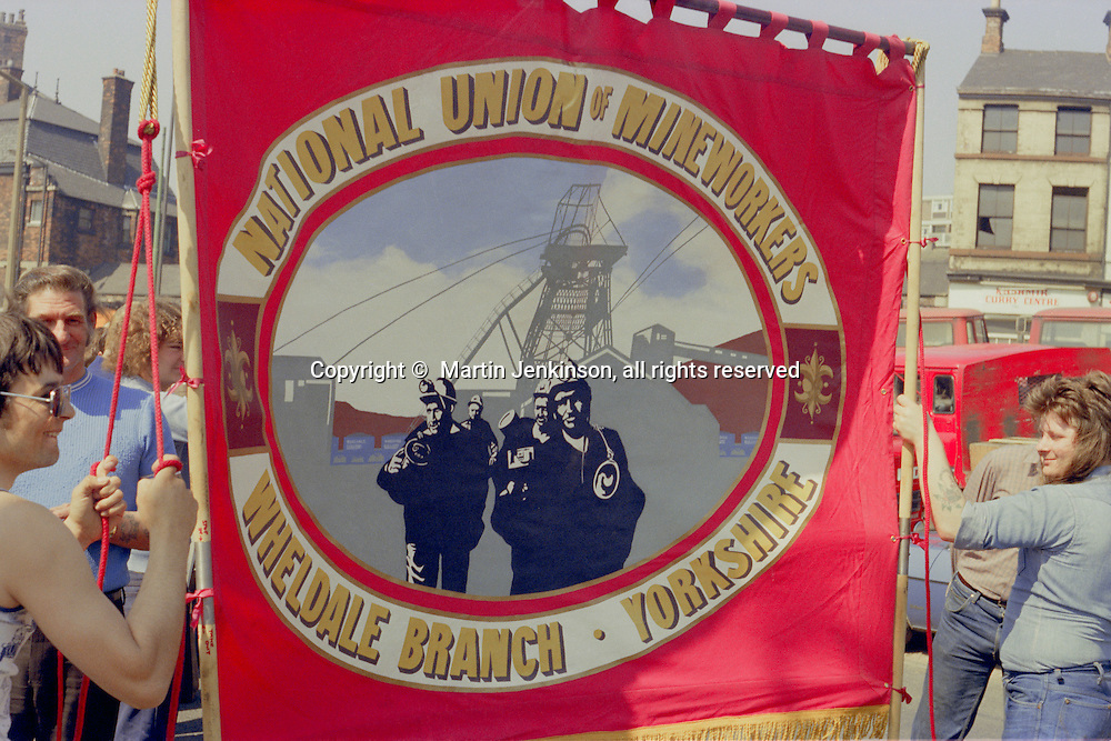 Wheldale Branch NUM banner at the start of a march against anti trade union legislation. Sheffield 1980.