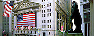 New York Stock Exchange with American Flags and Statue of George Washington, on The Spot where he was Inaugurated as First President