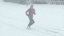 Beast From The East, 28th February 2018<br /> <br /> A jogger goes for a run during the Red Snow Warning in central Scotland<br /> <br /> Alex Todd | EEm