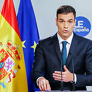 European Summit meeting of the EU heads of states and governments at the European Council headquarters . Press Conference of Pedro Sanchez at the end of the European Council . <br /> Pix : Pedro Sanchez