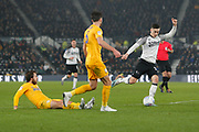 Tom Lawrence in action during the EFL Sky Bet Championship match between Derby County and Preston North End at the Pride Park, Derby, England on 23 November 2019.