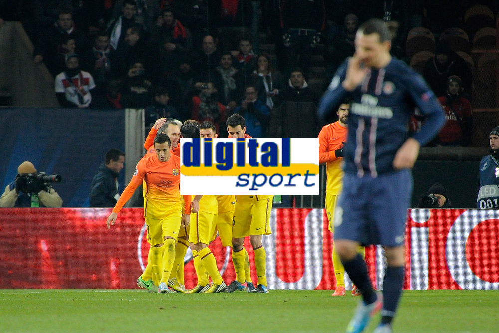 FOOTBALL - UEFA CHAMPIONS LEAGUE 2012/2013 - 1/4 FINAL - 1ST LEG - PARIS SAINT GERMAIN v FC BARCELONA - 2/04/2013 - PHOTO JEAN MARIE HERVIO / REGAMEDIA / DPPI - JOY BARCELONA AFTER THE LIONEL MESSI'S GOAL