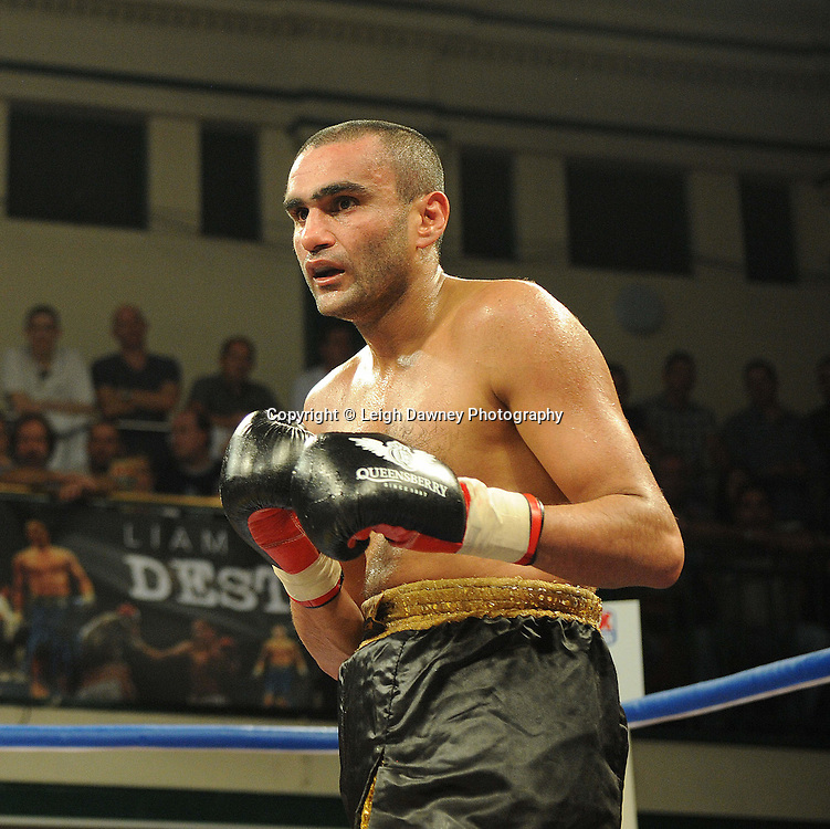 Liam Shinkwin defeats Sid Razak (pictured) at York Hall, Bethnal Green, London on Friday 30th September 2011. Boxnation.tv's debut live TV Channel 456 on Sky. Photo credit: © Leigh Dawney. Queensberry Promotions.