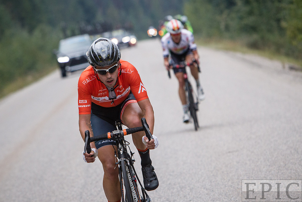 JASPER, ALBERTA, CAN - September 1: Evan Huffman (Rally Cycling) breaks away from the field during the Tour of Alberta stage 1 on September 1, 2017 in Jasper, Canada. (Photo by Jonathan Devich)