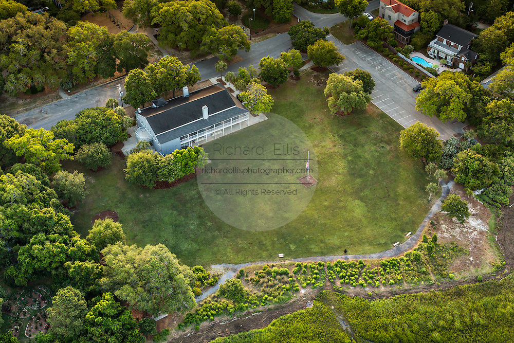 Aerial view of Hibernian Hall in Mount Pleasant, SC.