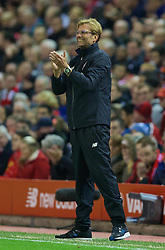LIVERPOOL, ENGLAND - Wednesday, October 28, 2015: Liverpool's manager Jürgen Klopp during the Football League Cup 4th Round match against AFC Bournemouth at Anfield. (Pic by David Rawcliffe/Propaganda)