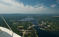 Aerial view of Lake Winnisquam showing Mosquito Bridge and the sandbar.