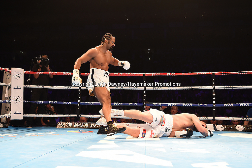 David Haye v Arnold Gjergjaj in a heavyweight contest at the 02 Arena, London on the 21st May 2016. Photo credit: Leigh Dawney/Hayemaker Promotions