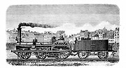 Railway steam locomotive designed in 1849 by the English engineer Thomas Russell Crampton (1816-1888).  Wood engraving.