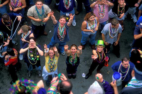 Party goers at mardi gras in Galveston Texas