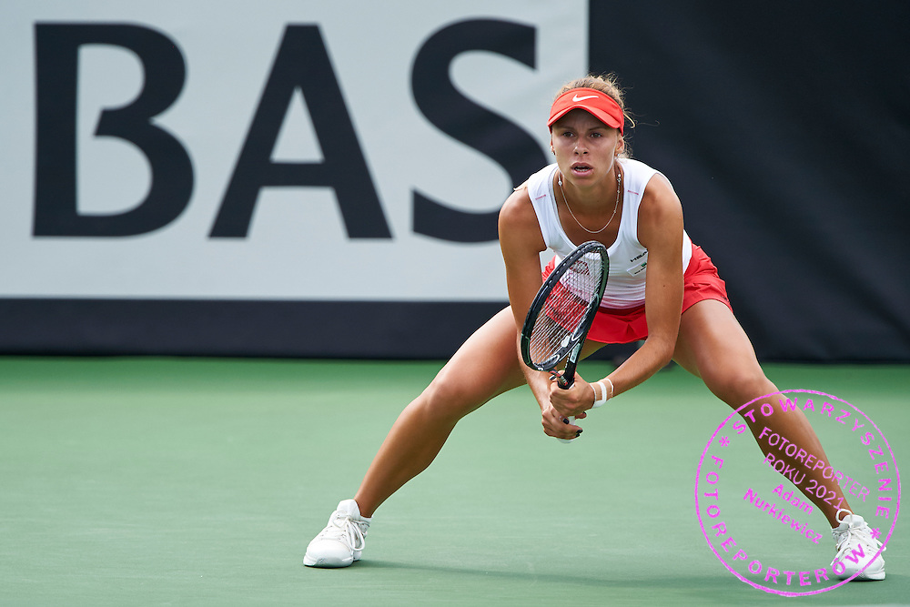 KAILUA KONA, USA - 2016 FEBRUARY 07: Magda Linette of Poland competes at women's singles during the Fed Cup World Group II 1st round tennis match between USA and Poland on February 07, 2016 at Holua Tennis Center in Kailua Kona, USA.<br /> <br /> Picture also available in RAW (NEF) or TIFF format on special request.<br /> <br /> Any editorial, commercial or promotional use requires written permission from the author of image.<br /> <br /> Adam Nurkiewicz declares that he has no rights to the image of people at the photographs of his authorship.<br /> <br /> Mandatory credit:<br /> Photo by &copy; Adam Nurkiewicz / Mediasport