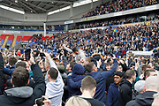 It's all over and Bolton are promoted to the Championship - time for the pitch invasion during the EFL Sky Bet League 1 match between Bolton Wanderers and Peterborough United at the Macron Stadium, Bolton, England on 30 April 2017. Photo by Craig Galloway.