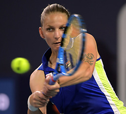 March 25, 2019 - Miami Gardens, Florida, United States Of America - MIAMI GARDENS, FLORIDA - MARCH 25: Karolina Pliskova of the Czech Republic defeatsYulia Putintseva of Kazakhstan during day 8 of the Miami Open presented by Itau at Hard Rock Stadium on March 25, 2019 in Miami Gardens, Florida...People: Karolina Pliskova. (Credit Image: © SMG via ZUMA Wire)
