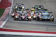 September 17, 2016: IMSA at Circuit of the Americas. Start of the IMSA Lonestar Le Mans led by #10 Ricky Taylor, Jordan Taylor, Wayne Taylor Racing, Corvette Daytona Prototype and #55 Jonathan Bomarito, Tristan Nunez, Mazda Motorsport, Mazda Prototype