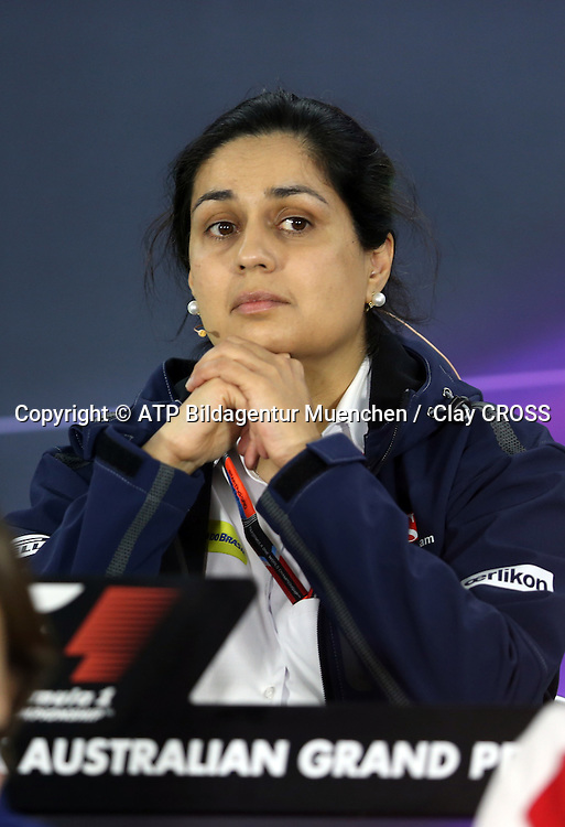 Monisha KALTENBORN, Team Sauber F1, <br /> AUSTRALIAN Formula One Grand Prix 2015, Albert Park  - <br /> Formel 1 Rennen in Australien, Motorsport, F1 GP, 13.03. Honorarpflichtiges Foto, Fee liable image, <br /> Copyright &copy; ATP Clay CROSS
