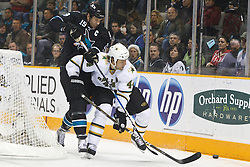 December 13, 2010; San Jose, CA, USA;  Dallas Stars defenseman Jeff Woywitka (44) defends the puck from San Jose Sharks center Joe Thornton (19) during the first period at HP Pavilion. Mandatory Credit: Jason O. Watson / US PRESSWIRE