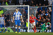 Charlton Athletic striker Reza Ghoochannejhad celebrates after scoring during the Sky Bet Championship match between Brighton and Hove Albion and Charlton Athletic at the American Express Community Stadium, Brighton and Hove, England on 5 December 2015. Photo by Bennett Dean.
